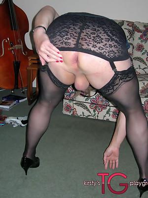 Crossdresser sluts in lingerie sucking some hard cock
